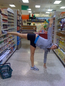 Because sometimes Ardha Chandrasana is fun in the grocery store!